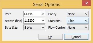 Рис. 8. Окно настроек Serial Options