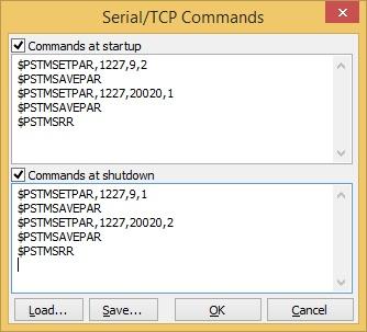 Рис. 9. Окно настроек SerialTCP Commands