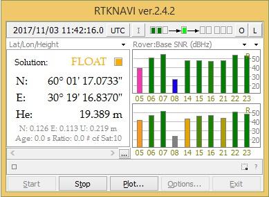 Рис. 10. Главное окно программы RTKNAVI определение позиции с точностью FLOAT