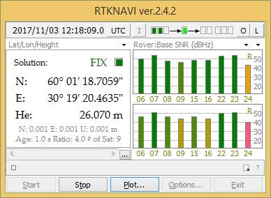 Рис. 11. Главное окно программы RTKNAVI определение позиции с точностью FIX