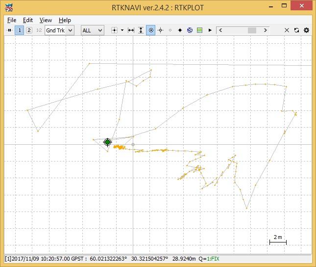 Рис. 12. Определение статической позиции в RTKPLOT